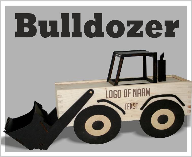 Bulldozer van hout, bulldozer met wijn